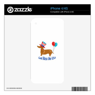 God Bless Usa Decal For iPhone 4S