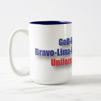 God Bless USA : NATO Phonetics Two-Tone Coffee Mug