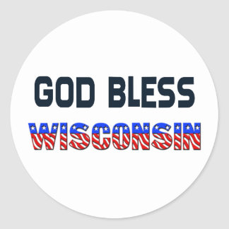 God Bless Wisconsin Classic Round Sticker