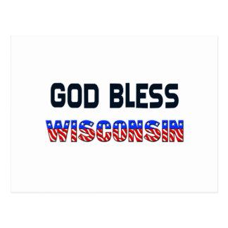 God Bless Wisconsin Postcard