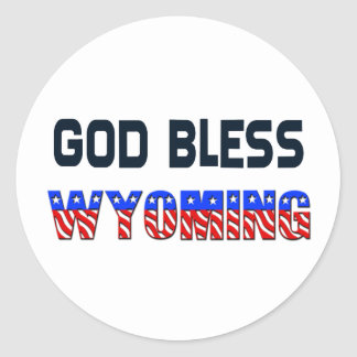 God Bless Wyoming Classic Round Sticker