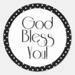 God Bless You Black and White Polka Dot Sticker