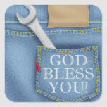 God Bless You Blue Jeans Sticker