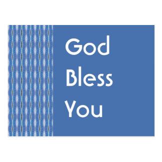 God Bless You blue pattern Postcard