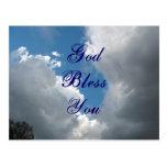 God Bless You clouds Postcard