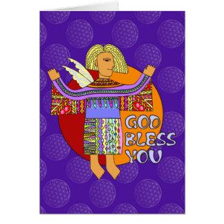 God Bless You - flower OF life pattern violet Card