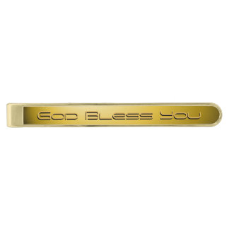 God Bless You Gold Finish Tie Bar