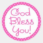 God Bless You Hot Pink Polka Dot Sticker
