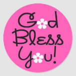 God Bless You Pink and Black Sticker