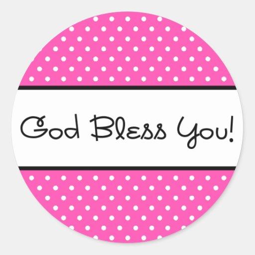 God Bless You Pink Polka Dot Sticker