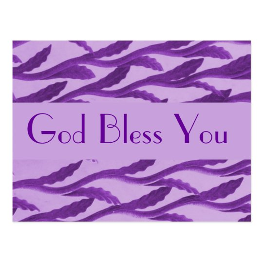 God Bless You purple branches Postcard