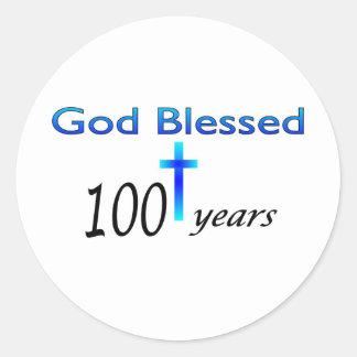 God Blessed 100 years birthday gift Round Stickers