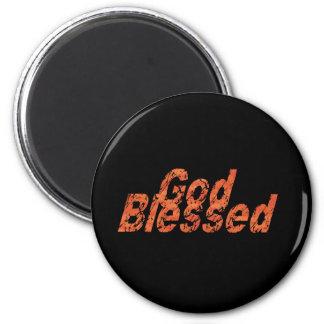God Blessed 2 Orange fond noir Magnet