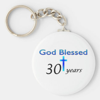 God Blessed 30 years christian birthday gift Basic Round Button Keychain