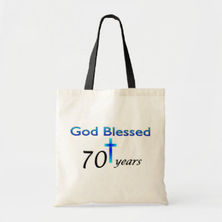 God Blessed 70 years birthday gift Budget Tote Bag