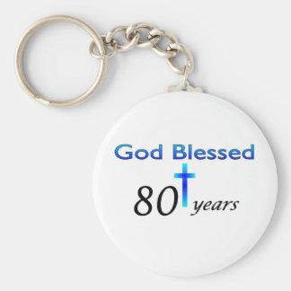 God Blessed 80 years birthday gift Keychain