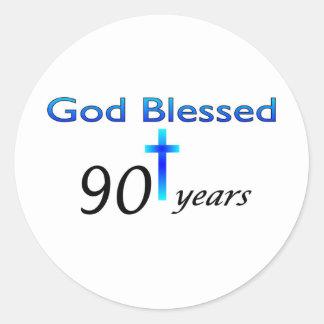 God Blessed 90 years birthday gift Classic Round Sticker