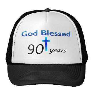 God Blessed 90 years birthday gift Mesh Hats