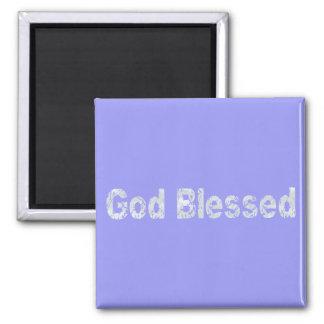 God Blessed Gris clair fond bleu 2 Inch Square Magnet