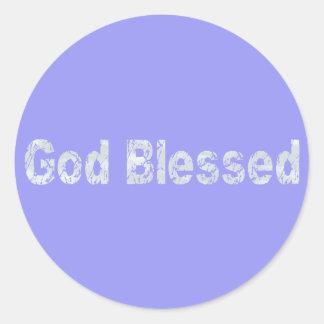 God Blessed Gris clair fond bleu Classic Round Sticker