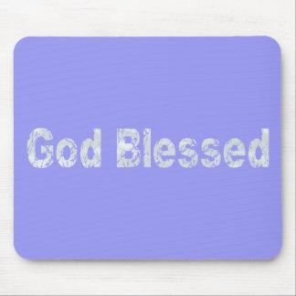 God Blessed Gris clair fond bleu Mouse Pad