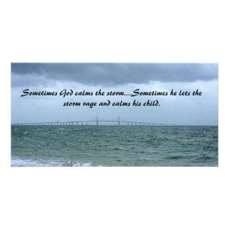 God calms the storm photo card