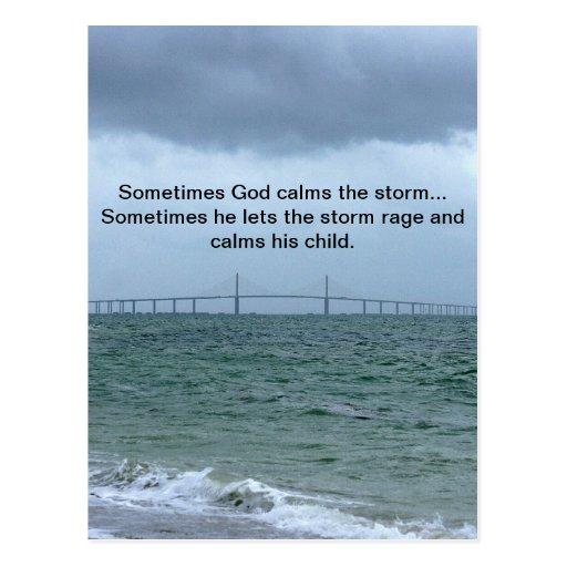 God calms the storm post card