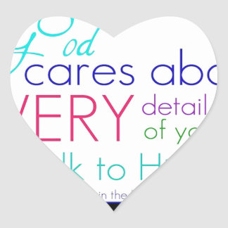 God Cares About Every Detail Of Your Life Heart Sticker