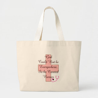 God Could Not Everywhere NURSES pink cross Canvas Bag