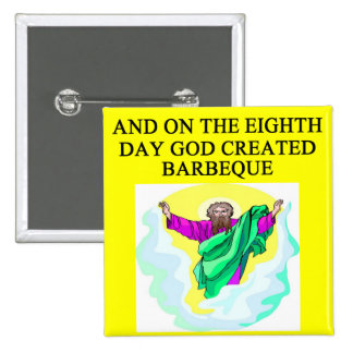 god created barbecue pinback button