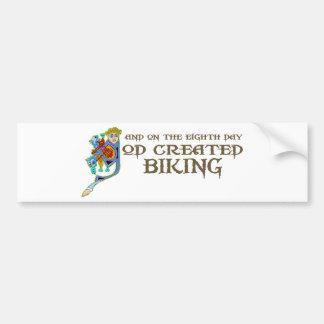 God Created Biking Car Bumper Sticker