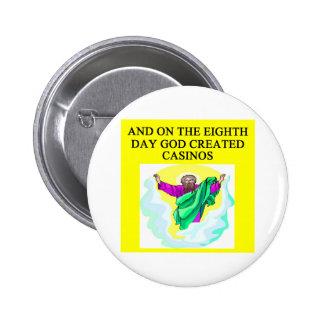 god created casinos pinback button