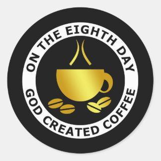 GOD CREATED COFFEE CLASSIC ROUND STICKER