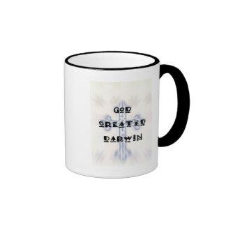 God Created Darwin Ringer Mug