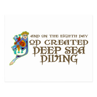 God Created Deep Sea Diving Post Cards