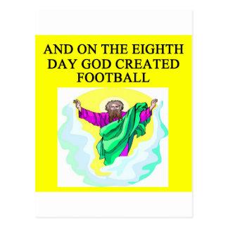 god created football postcard
