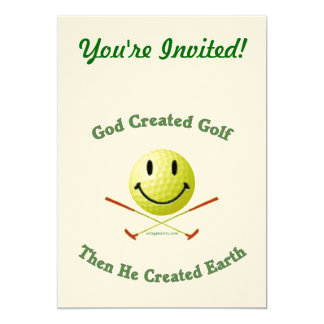 God Created Golf 5x7 Paper Invitation Card