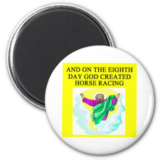 god created horse racing 2 inch round magnet