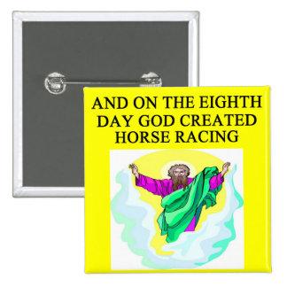 god created horse racing pinback button