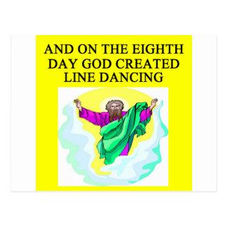 god created line dancing postcard