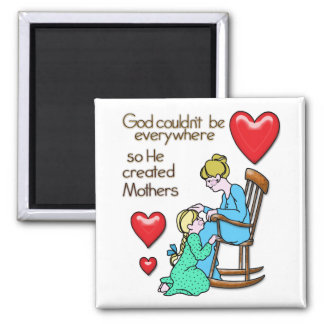 God Created Mothers 2 Inch Square Magnet