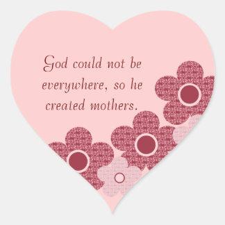 God Created Mothers Flower Heart Stickers, Pink Heart Sticker