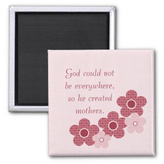God Created Mothers Patterned Flower Magnet, Pink 2 Inch Square Magnet