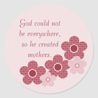 God Created Mothers Patterned Flower Stickers Pink