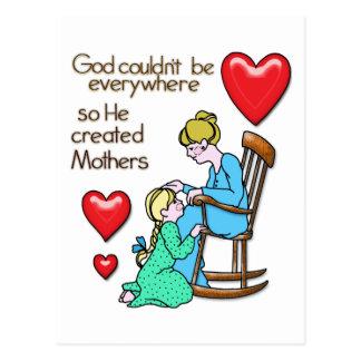 God Created Mothers Postcard