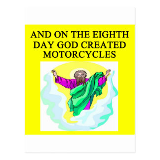 god created motorcycles postcard