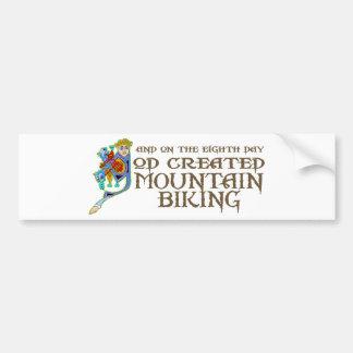 God Created Mountain Biking Car Bumper Sticker