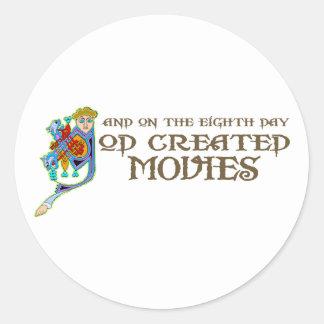 God Created Movies Classic Round Sticker