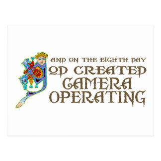 God Created Operating a Camera Postcard