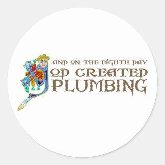God Created Plumbing Classic Round Sticker